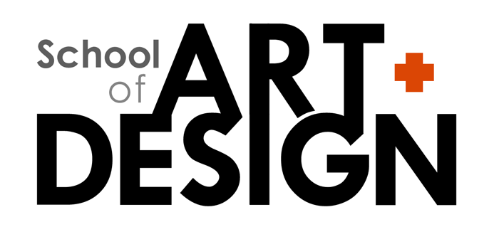 School of Art + Design wordmark in black-on-white