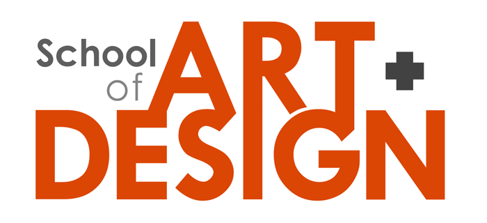 School of Art + Design wordmark in red