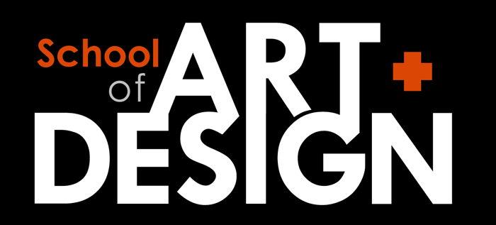School of Art + Design wordmark in white-on-black